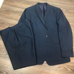 Andrew Fezza Blue & Navy Pinstripe Suit 46L Long